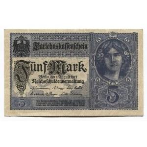Germany - Empire 5 Mark 1917 Darlehnskassenschein