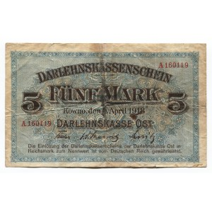 Germany - Empire Kowno 5 Mark 1918 Darlehnskasse Ost