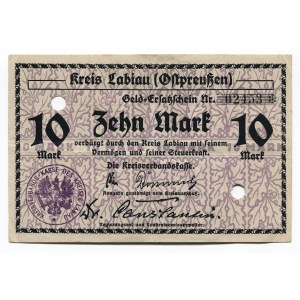 Germany - Empire East Prussia Kreis Labiau 10 Mark 1918