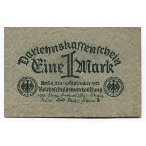 Germany - Weimar Republic 1 Mark 1922 Darlehnskassenschein