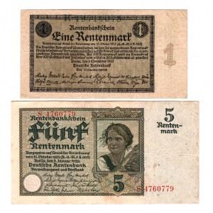 Germany - Weimar Republic 1 - 5 Rentemark 1923 - 1926