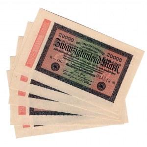 Germany - Weimar Republic 20000 Mark 1923 5 Pieces
