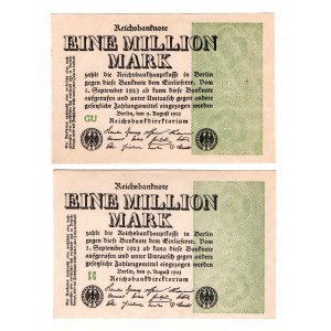 Germany - Weimar Republic 1 Million Mark 1923 2 Pieces