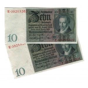 Germany - Weimar Republic 50 Reichsmark 1933 2 Consecutive