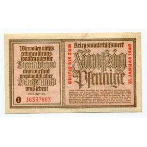 Germany - Third Reich Winterhilfswerk 50 Pfennige 1939 - 1940 (ND)
