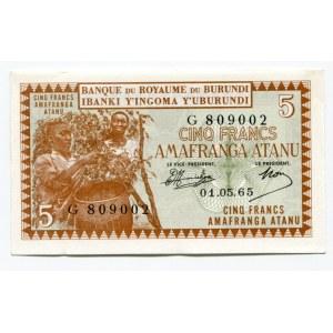 Burundi 5 Francs 1965