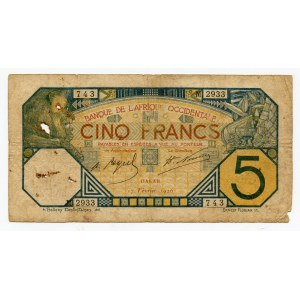French West Africa 5 Francs 1926
