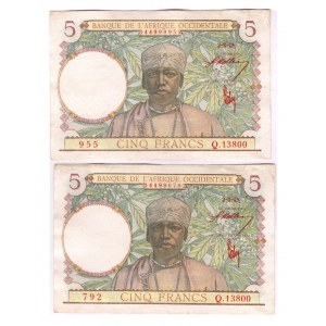French West Africa 5 Francs 1943 2 Pieces