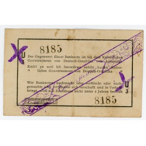 German East Africa 1 Rupie 1916 Cancelled note