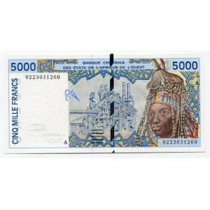 Ivory Coast 5000 Francs 1992