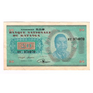 Katanga 20 Francs 1960