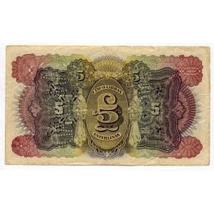 Mozambique 5 Libras 1934 Cancelled note