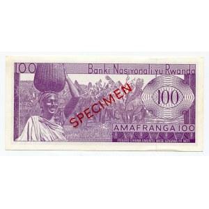 Rwanda 100 Francs 1965 SPECIMEN
