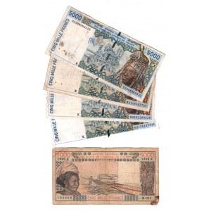 West African States Senegal 5000 Francs 1990 - 2002 5 Pieces
