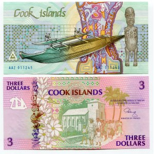 Cook Islands 2 x 3 Dollars 1987 - 1992 (ND)