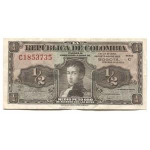 Colombia 1/2 Peso Oro 1953
