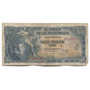 Colombia 10 Pesos Oro 1961