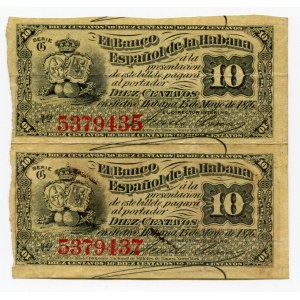 Cuba 2 x 10 Centavos 1876 Uncutted Sheet of Notes