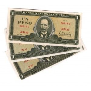 Cuba 1 Peso 1968 - 1978 3 Pieces