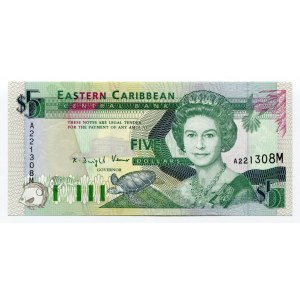 East Caribbean States 5 Dollars 1993 (ND)