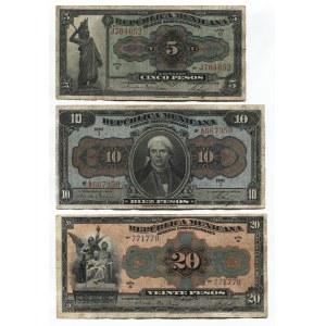 Mexico 5 - 10 - 20 Pesos 1915 Constitutionalist Government