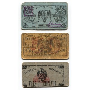 Mexico Lot of 3 Regional Issues 10 - 50 Centavos 1915 - 1916