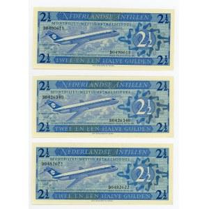 Netherlands Antilles 3 x 2-1/2 Gulden 1970