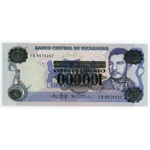Nicaragua 100000 Cordobas on 100 Cordobas 1989 Error inverted overprint