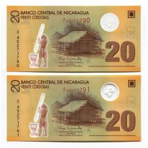 Nicaragua 2 x 20 Cordobas 2007