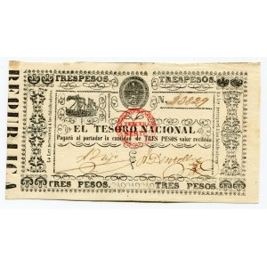 Paraguay 3 Pesos 1868