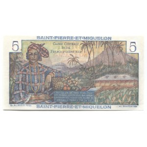 Saint Pierre & Miquelon 5 Francs 1950 - 1960 (ND)