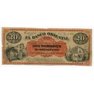 Uruguay 20 Pesos 1867