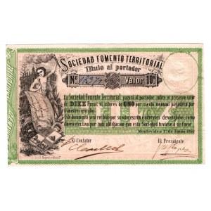 Uruguay Sociedad Fomento Territorial 10 Pesos 1868