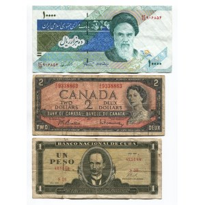 World Lot of 7 Notes 1938 - 2015