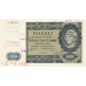 Falsyfikat londyński 500 złotych 1940