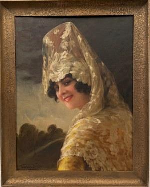 Torres Fuster(1874-1945), ''Portret Hiszpanki w welonie''