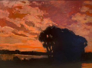 Stefan Popowski (1870-1937),''ZACHÓD SŁOŃCA NAD JEZIOREM''