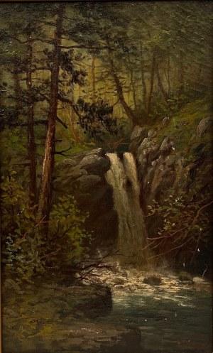 JOHN GEORGE BROWN (1831-1913),''Pejzaż z wodospadem''