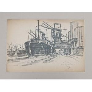 Antoni Suchanek(1901-1982),Gdynia1946 ,fragment portowy ,Olejarnia