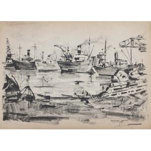 Antoni Suchanek(1901-1982),Fragment Portowy,1946