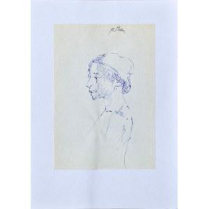 Roman BANASZEWSKI (1932-2021), Szkic popiersia kobiety z hustą na głowie z lewego profilu