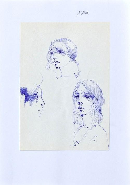 Roman BANASZEWSKI (1932-2021), Szkice głowy kobiety w różnych ujęciach