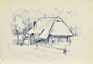 Ludwik MACIĄG (1920-2007), Szkic pejzażu z wiejską chatą