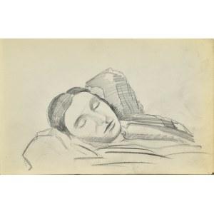 Stanisław ŻURAWSKI (1889-1976), Szkic popiersia śpiącej kobiety z rękami uniesionymi za głowę