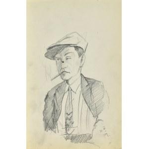Stanisław ŻURAWSKI (1889-1976), Szkic mężczyzny w czapce palącego papierosa