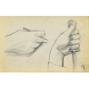 Stanisław ŻURAWSKI (1889-1976), Szkic dłoni trzymającej ołówek oraz dłoni trzymającej sztylet
