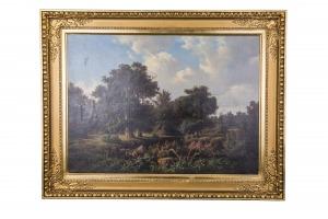Georg Engelhardt (1823-1883), Krajobraz leśny z sarnami