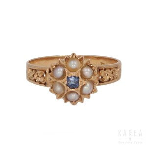 A Victorian/Edwardian pearl and sapphire ring, early 20th century