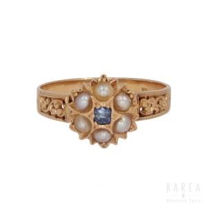 Pierścionek z szafirem i perłami, pocz. XX wieku