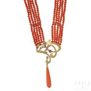 An Art Nouveau style coral necklace, 20th century